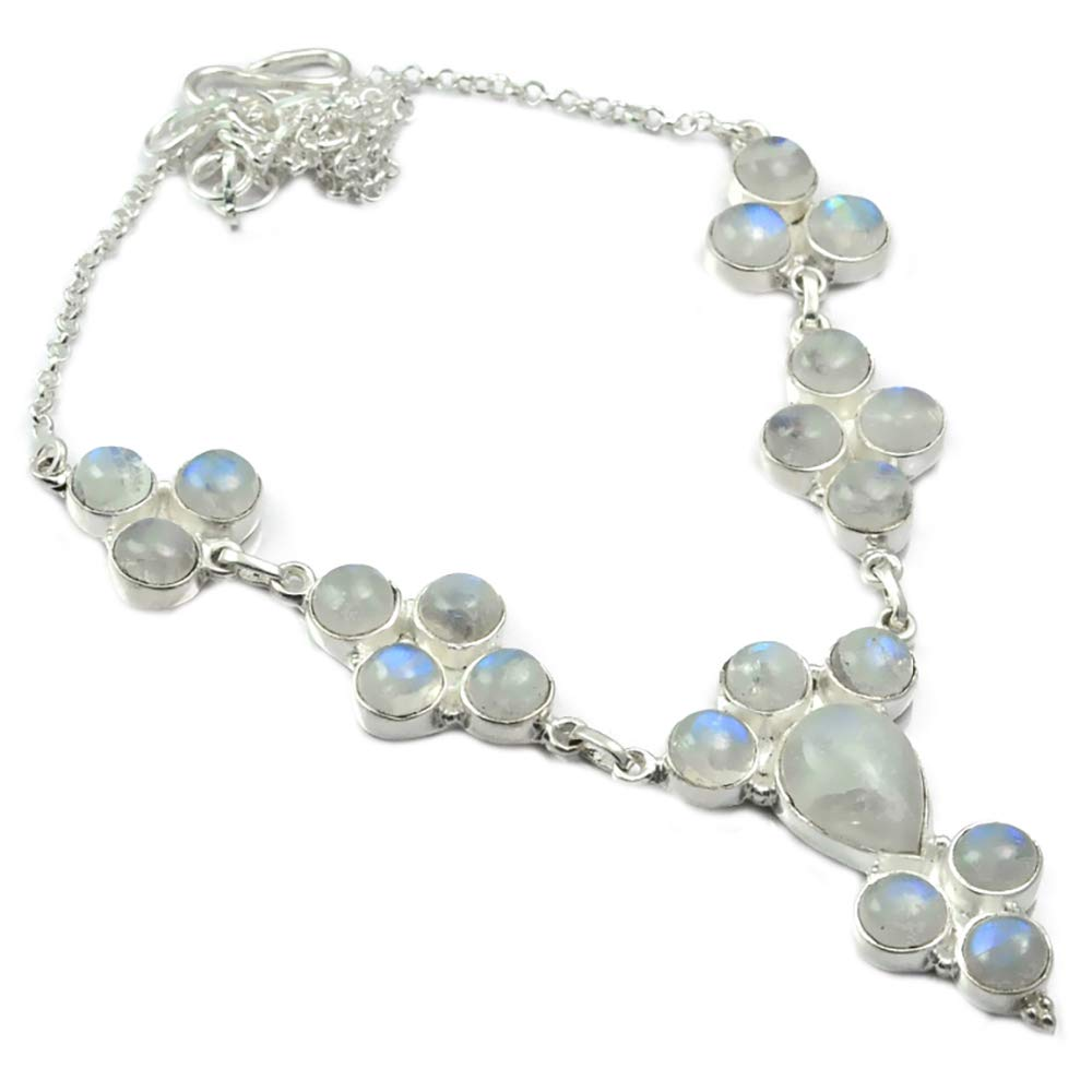 NiaoZaiFei YunZaiKan Nature Rainbow Moonstone Necklace 925 Sterling Silver, 49 cm, MHBNE0004NiaoZaiFei YunZaiKan Nature Rainbow Moonstone Necklace 925 Sterling Silver, 49 cm, MHBNE0004
