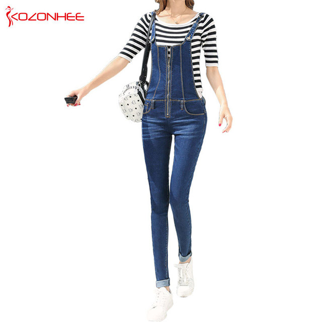 buy online ed38b 3f00f US $22.72 24% OFF|Casual Stretch Dünne frauen Overalls Jeans Mit Hoher  Taille Elastizität Strampler Damen Enge Hohe Taille Bleistift Jeans Overall  Fe ...
