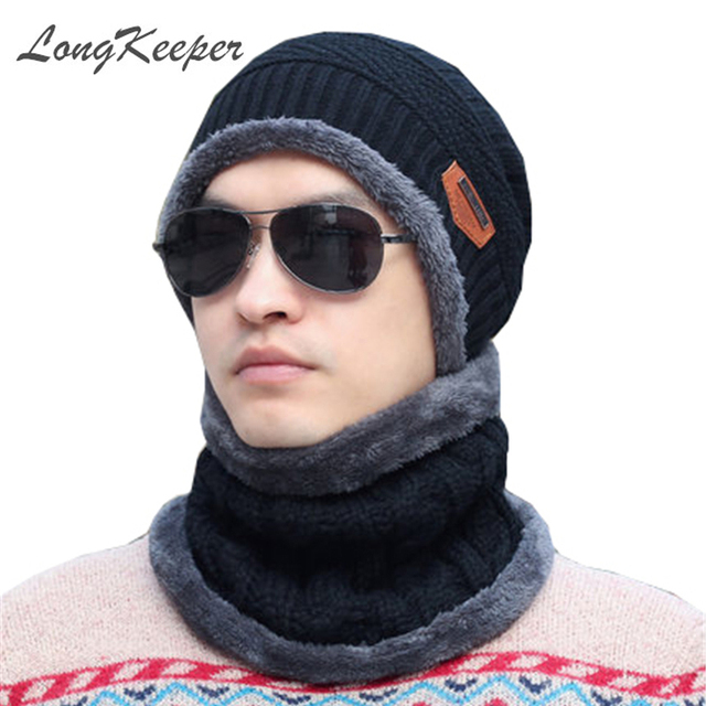 2016 knit scarf cap neck warmer Winter Hats For Men women Caps warm Winter Beanie Fleece Knit Bonnet Hat balaclava