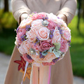 Beautiful Pink Wedding Flowers Bridal Bouquets Pearls Artificial Rose Handmade Holding Flowers Bride Bouquets Bouquet De Mariage