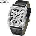 Часы GUANQIN с квадратным корпусом мужские  Роскошные  2018  мужские наручные часы с кристаллами  кожаный ремешок  кварцевые часы  водонепроницае...