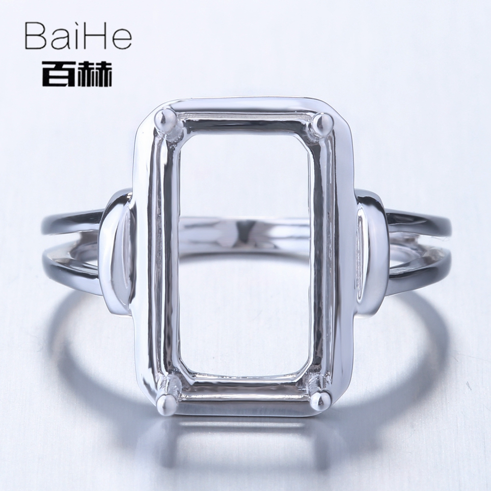 BAIHE Solid 14K White Gold(AU585) Certified Cushion Engagement Women Office/career Fine Jewelry Elegant unique Semi Mount Ring  BAIHE Solid 14K White Gold(AU585) Certified Cushion Engagement Women Office/career Fine Jewelry Elegant unique Semi Mount Ring
