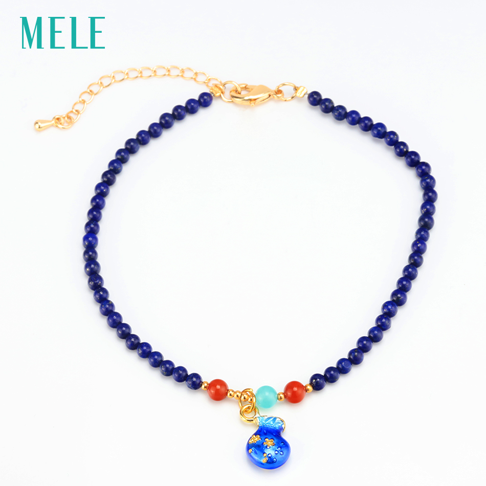 Natural lapis lazuli silver ankle, 28cm length, deep color and fashion design, fine jwelrys for young ladies