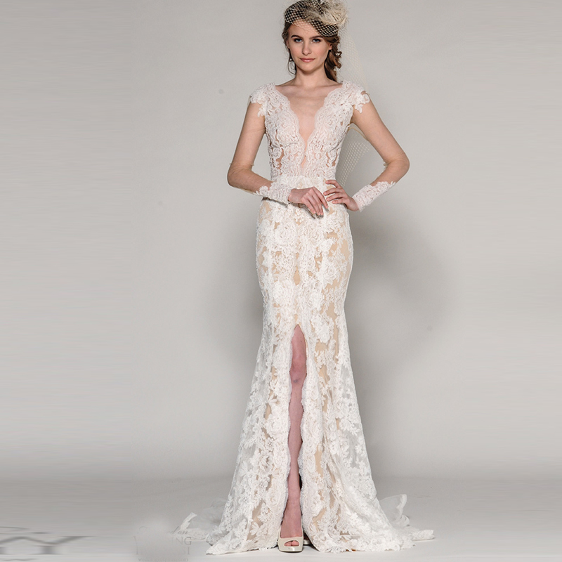 custom 2016 new shopping sales online sexy country western wedding dresses mermaid high slits with long sleeve lace applique