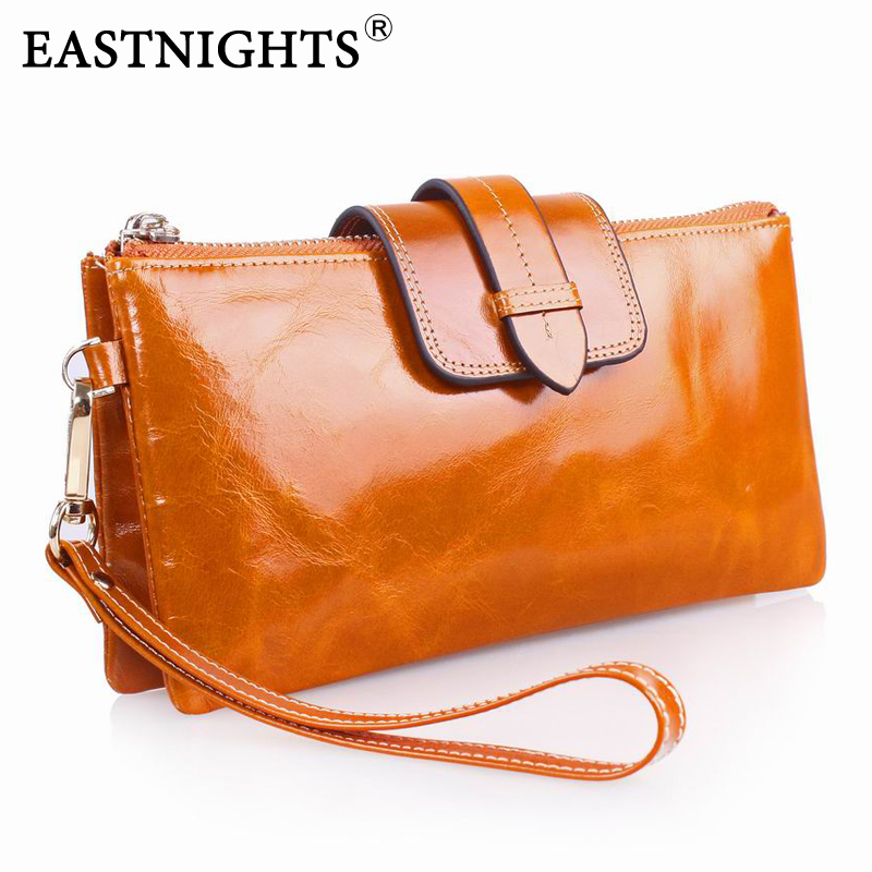 genuine leather wallets for women clutch purse oil wax bags designer brand with chain 2069