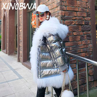 New 2018 Winter Fashion Loose Large Natural Real Lamb Fur Hooded Cuff Thick Warm Coats Jackets Ladies Waterproof Silver Outwear