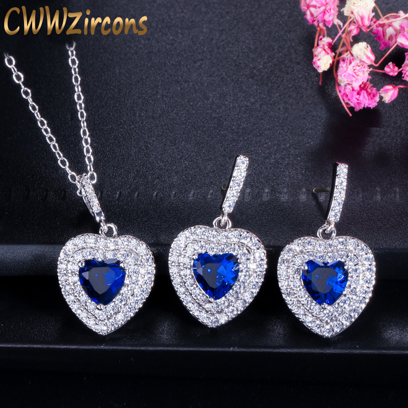 CWWZircons Fashion Women Love Gift Dark Blue Cubic Zirconia Pendant Necklace And Earrings Sterling Silver 925 Jewelry Set T272