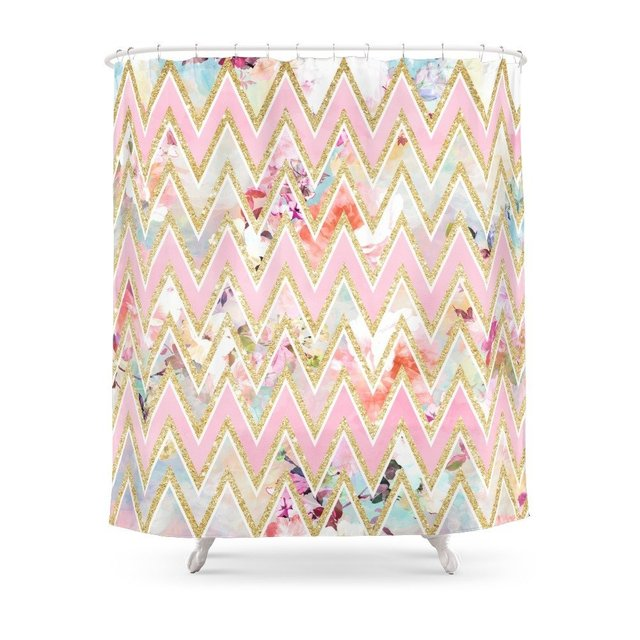 Pastel Watercolor Floral Pink Gold Chevron Pattern Shower Curtain