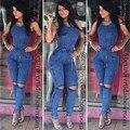 2016 Hot Sale Exotic designer bodycon macacão sem mangas verão longo macacão sexy macacão jeans