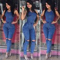 2016 Hot Sale Exotic designer bodycon rompers summer sleeveless long rompers sexy denim rompers