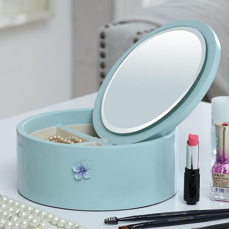 New!Creative Elegant Hydrangea resin round jewelry box with mirror storage box jewelry display gift desktop Cosmetic Europe