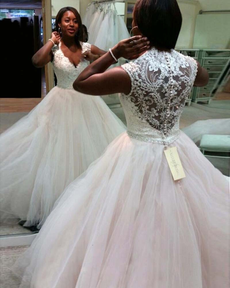 Lace Wedding Dresses With Cap Sleeves: HQ White African Wedding Dresses V Neck Cap Sleeves