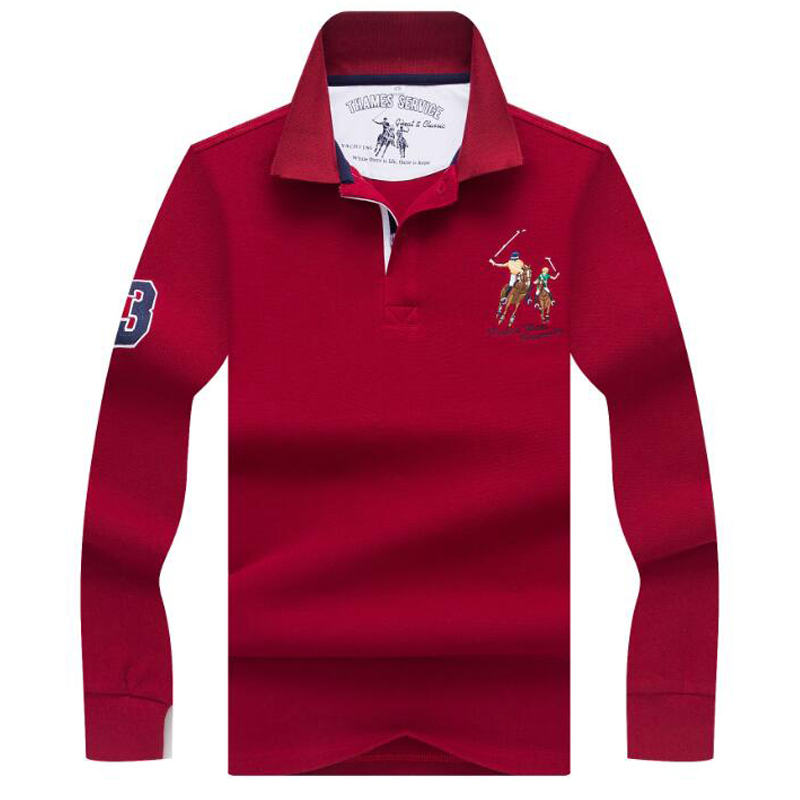 Spring autumn polo shirt High quality brand business casual mens Cotton full men Solid clothing
