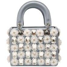 original 2018 summer new IN-super-fire inlaid diamond flower Lingge pattern single-shoulder handlebar bag