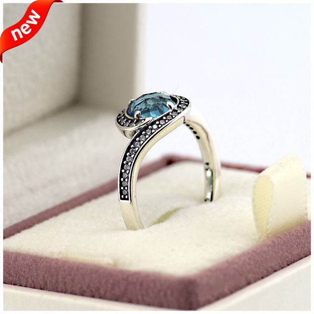 925 Sterling-Silver-Jewelry Silver Rings for Women DIY Jewelry Radiant Embellishment Ring with Sky Blue Crystal and CZ Fandola