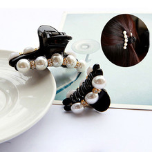 New Design 1 Pc Women Girl Fashion 2017 Black Crystal Pearl Rhinestones Hair Clip Claw Hair Jewelry