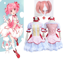 6pcs/Set Anime New Hot Puella Magi Madoka Magica Madoka Kaname Cosplay Costume Halloween Party Dress Clothing Headwear Wig недорого
