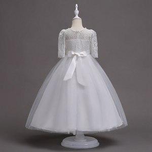 Image 5 - VOGUEON 王女のウェディング十代のドレス夏半袖フラワーガールのイブニングホワイトロングドレスレースパーティーエレガントなページェント Gala ガウン