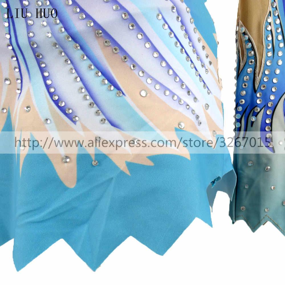 Женские трико для художественной гимнастики для девочек, костюм для выступлений, платье для художественной гимнастики, синий красивый принт, блестящие стразы