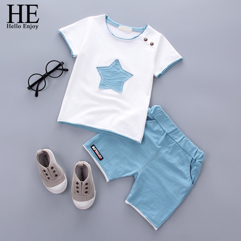 c1f98c4fe HE Hello Enjoy 2PCS Suit Baby Boy Clothes Children Summer Toddler Boys  Clothing Set Cartoon 2019 Kids Applique Stars Tops Shorts