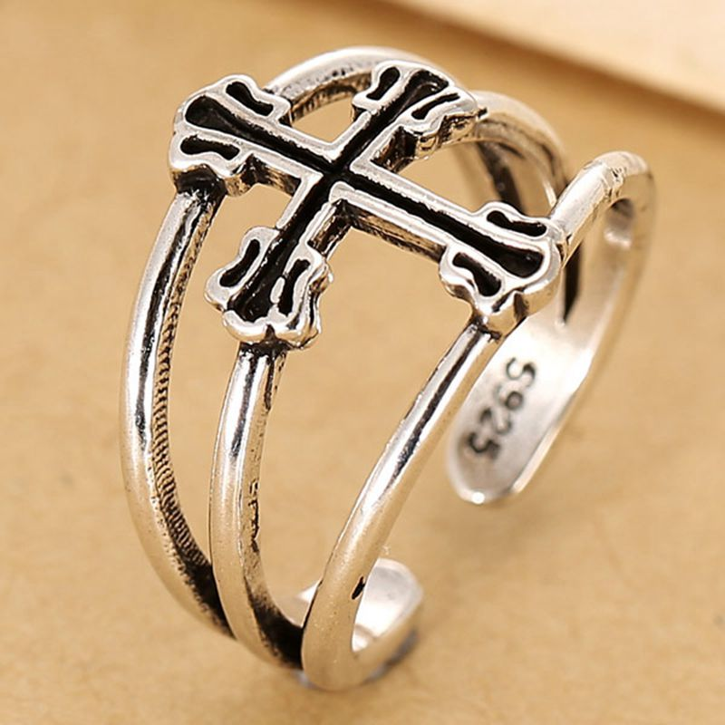 European Fashion Copper Jewelry Hollow Out Cross Finger Ring For Women