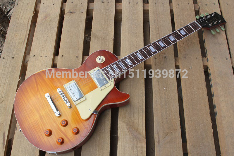 Hot Sale Flame Maple Custom Shop Billy Gibbons Signed Burst Aged Pearly Gates Les Standard LP Electric Guitar Free Shipping new china lp guitar custom shop tobacco burst flame maple top electric guitar gold parts free shipping