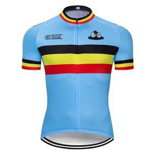 Image 5 - طقم ملابس جيرسي لركوب الدراجات البلجيكية من Crossrider موضة 2020 ملابس دراجة موحدة من نسيج شبكي يسمح بالتهوية ملابس رجالية قصيرة