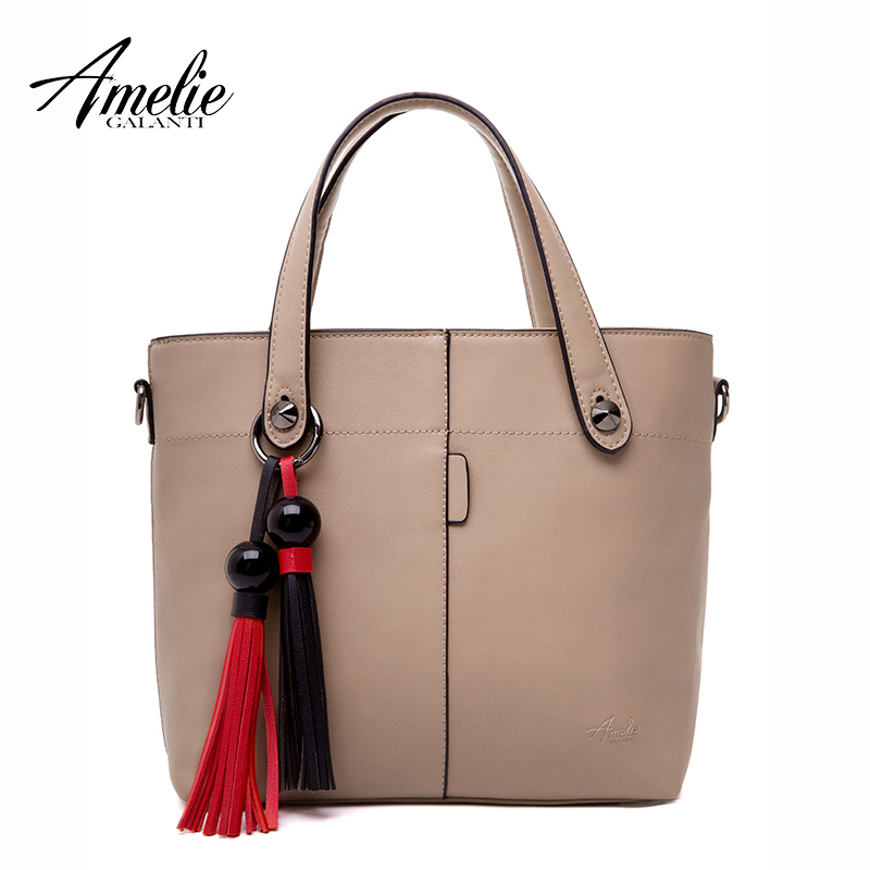 AMELIE GALANTI Women Leather Fashion Handbag with Tassel Ladies Flap Casual Tote Crossbody Bag for Women Classical Design casual rivets and tassel design crossbody bag for women href