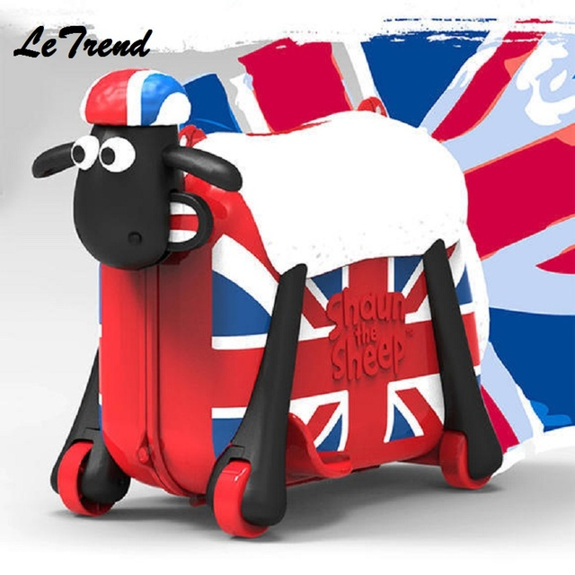 Fashion Women Cute Cartoon Sheep Shape Kids Ride-on Trolley Suitcase Solid Children Carry On Spinner Rolling Luggage