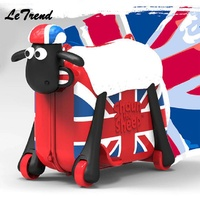 Fashion Women Cute Cartoon Sheep Shape Kids Ride on Trolley Suitcase Solid Children Carry On Spinner Rolling Luggage