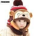 2016 Animal Sombrero Bufanda Set Kids Mono Cap Bonete de Terciopelo Bombardero sombrero Lindo Sombrero de Invierno Gorros de Punto Chicas Calientes Sombreros de Invierno para niños