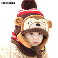 Lovely Cartoon Monkey Bomber Hats Plus Velvet Baby Caps Warm Ski Mask For The Face Winter