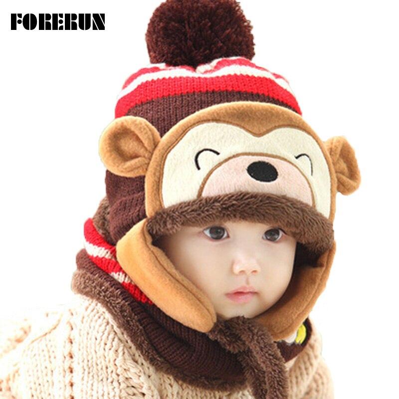 2017 Animal Hat Scarf Set Kids Monkey Cap Velvet Bonnet Bomber Hat Cute  Winter Hat Knitted Caps Girls Warm Winter Hats for Boys 9725deccadd