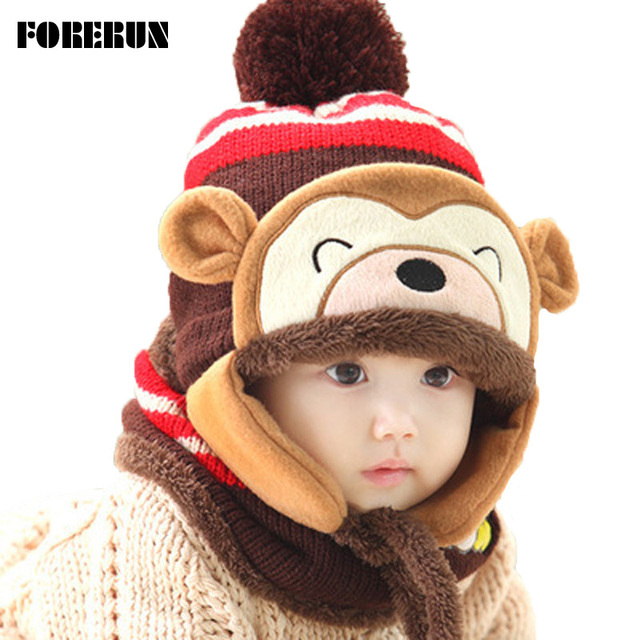 2017 Animal Hat Scarf Set Kids Monkey Cap Velvet Bonnet Bomber Hat Cute  Winter Hat Knitted Caps Girls Warm Winter Hats for Boys e46505f0836