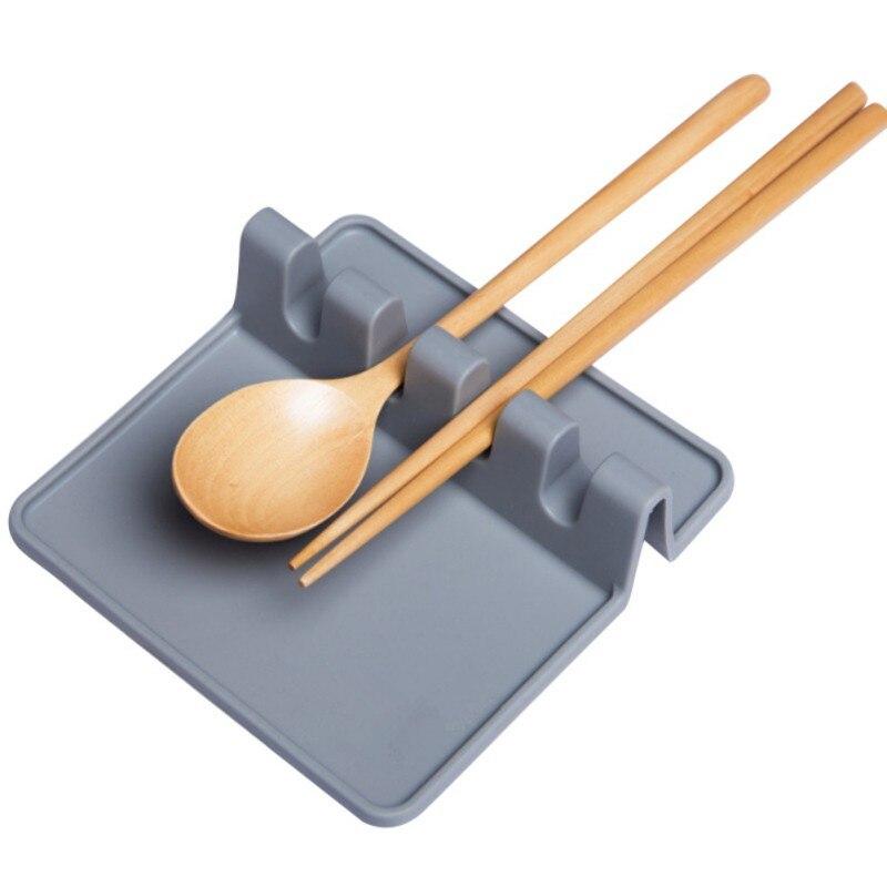 Термостойкая ложка, лопатка, посуда, ложка, вилка, коврик для кухни, подставка под горячее, силиконовые аксессуары - Цвет: Темно-серый