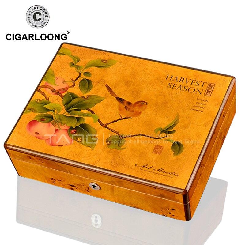 CIGARLOONG Cedar Wood Traditional Travel Cigar Humidor Magnets Hygrometer Humidifier Cigars Humidor Case Christmas Humidor Box
