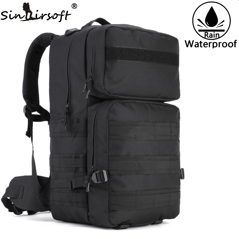 SINAIRSOFT 55L High Capacity Military Tactical Backpack Molle Mochila men's Bags Arisoft Waterproof Rucksack Camouflage 35l waterproof tactical backpack military multifunction high capacity hike camouflage travel backpack mochila molle system