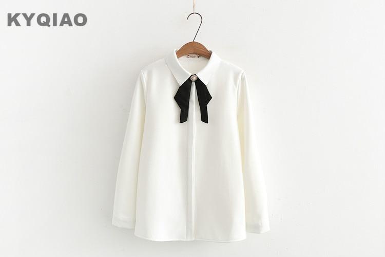 KYQIAO Cosplay costumes 2018 mori girls Japanese school uniform female autumn spring black bowknot white blouse shirt blusa