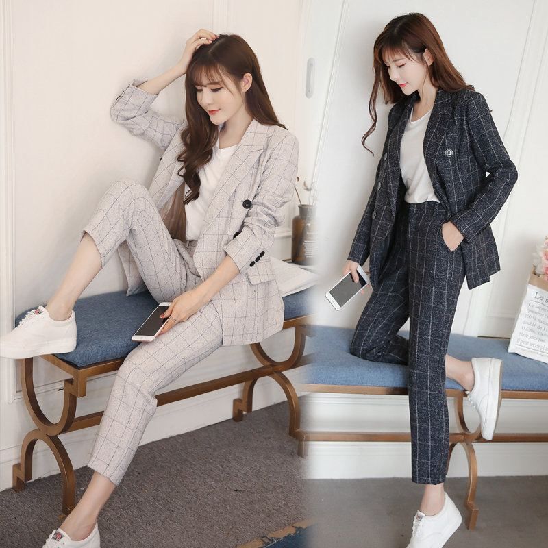 New Autumn Winter Women's Classic Pants Suits Fashion Striped Turn-down Collar Tops And Casual Pants Two Piece Sets S99021L 2
