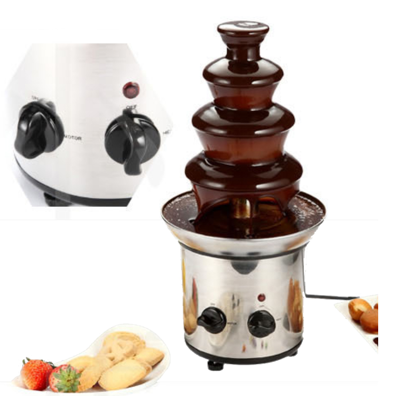 Stainless Steel Sweet Fountains Entertainer Home Stainless Steel Chocolate Fountains mini type 4 layers 220V/50HZ fast shipping food machine 6 layers chocolate fountains commercial chocolate waterfall machine with full stainless steel
