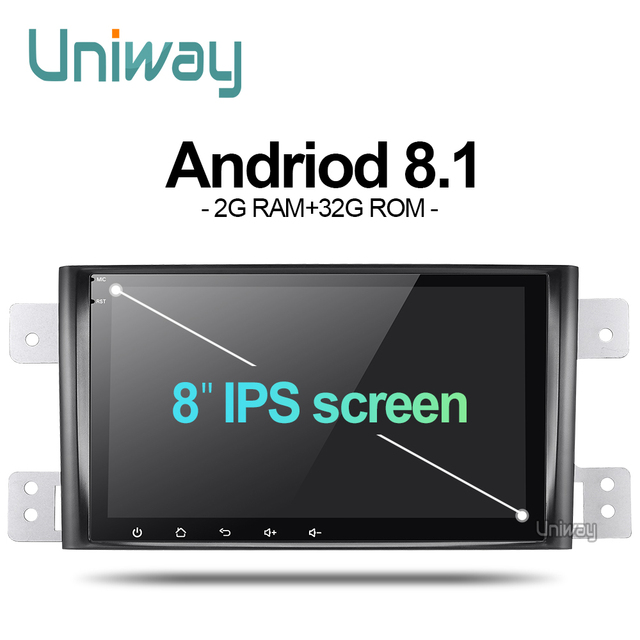 uniway AWTL8071 2G+32G android 8.1 car dvd for suzuki grand 2006-2011 vitara multimedia car radio stereo gps with steering wheel