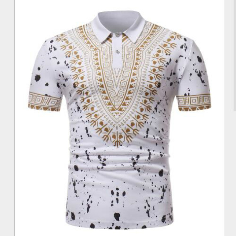 Fashion new African Turkish style men's printed short-sleeved   polo   shirt