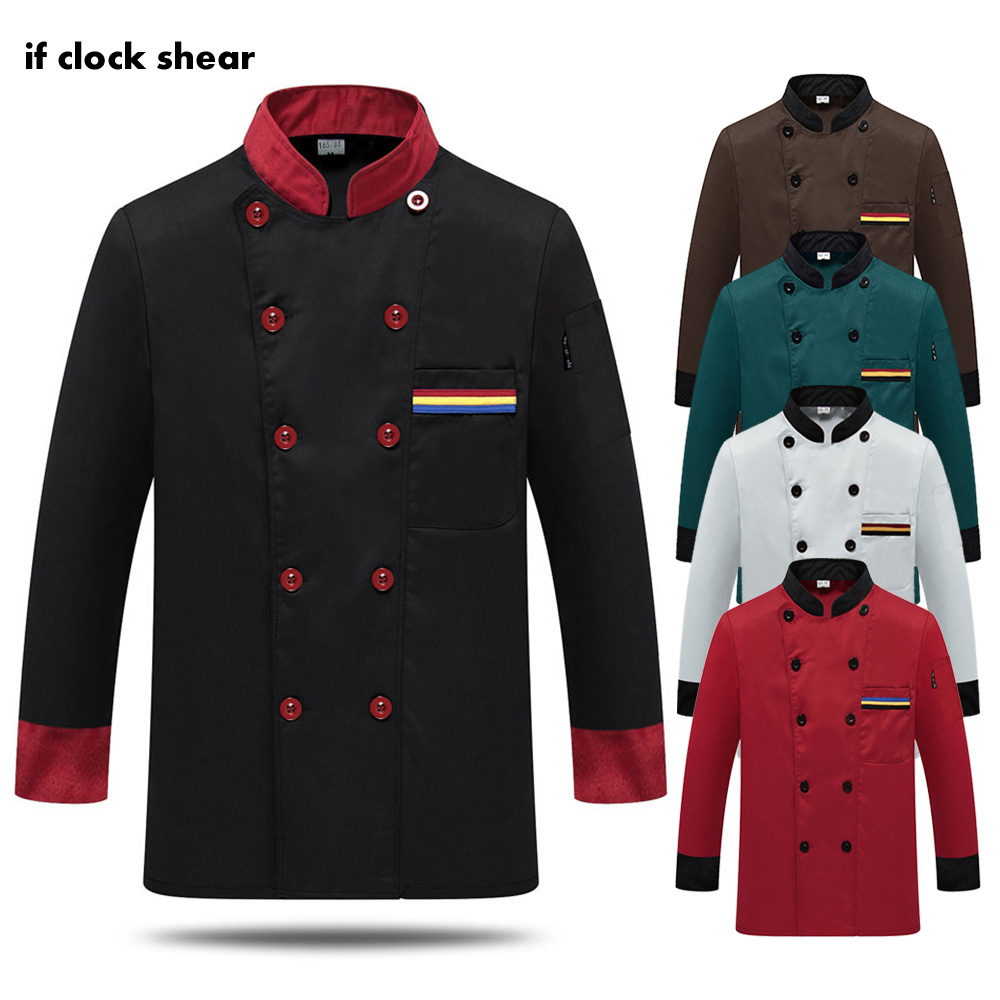 Long Sleeve Chef Jacket Uniform Hotel Restaurant Food Service Waitress Shirt Cook Tooling Men Coat Chef Clothes Work Uniforms