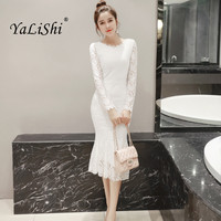 2018 Spring Women Dresses White O Neck Long Sleeves Bandage Bodycon Dress Sexy Party Socialite Lace Mermaid Dress Vestidos