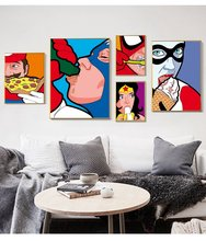 Cópia da Arte Da lona Vida Secreta de Super-heróis Cartaz Pop Art Kids Room Decor Engraçado Batman Spiderman Superman Cuadros(China)