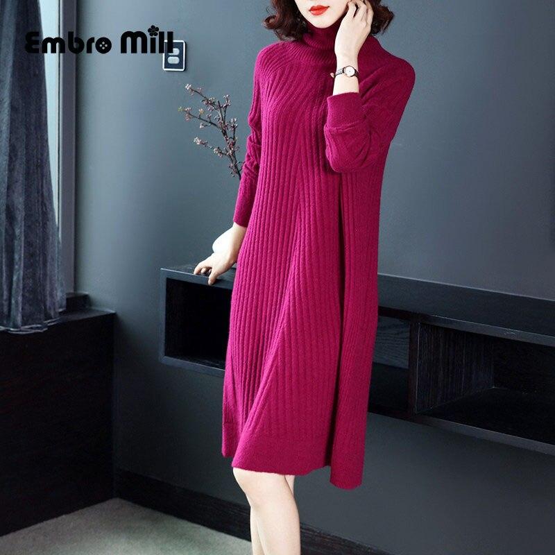 Высококлассное осенне зимнее трикотажное платье армейский зеленый и розовый Красный Элегантный тонкий женский А Силуэт платье M XL