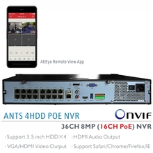 ANTSTEK 1.5U Rack Mount H.265 36CH 4K(8MP) NVR Supports 16CH IEEE802.3af PoE and 20CH Non PoE IP Camera Input, AEEYE Phone App