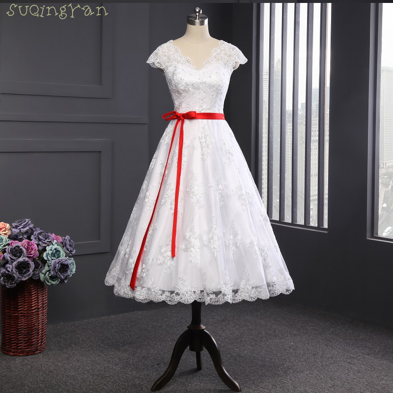 2017 cap sleeve white and red sash lace tea length short for Short red and white wedding dresses