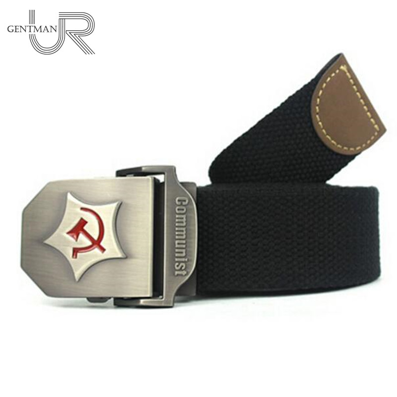 New Men Women Thicken Canvas   Belt   Communist Design Military   Belts   For Men High Quality Army Tactical   Belt   Mens Luxury Strap