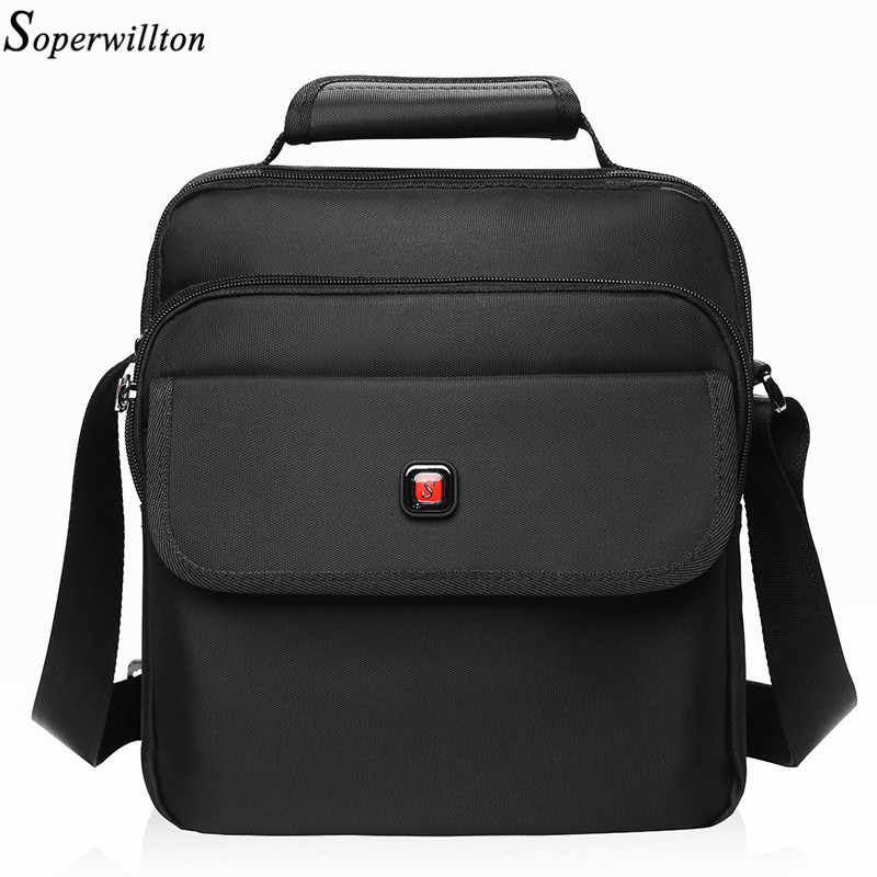 Soperwillton Men's Bag Totes Men Messenger Bags Brand 2019 Fashion Soft Handle Handbag Shoulder Crossbody Bag Male Black #1057